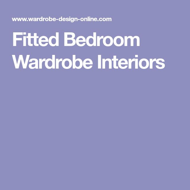 Fitted Bedroom Wardrobe Interiors
