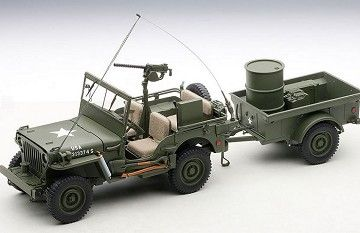AUTOart 1/18 Jeep Willys Army Green with Trailer w/ Accessories