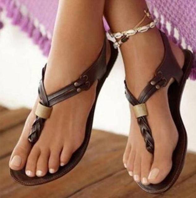7a05fbf2f Shop Woman Summer Flat Ladies Vntage Flip Thong Flats Sandal Shoes www. essish.com