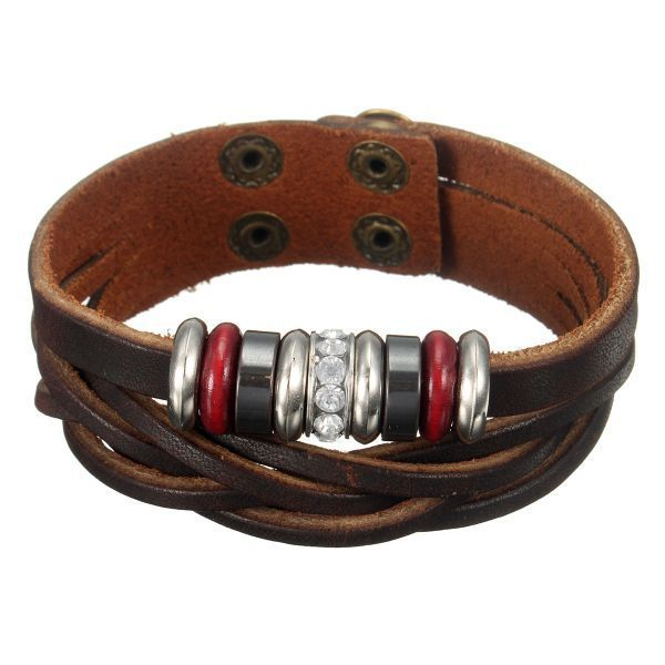 Uni Punk Leather Beads Braided Wristband Bangle Bracelet Q Ray Bracelets In Canada 7