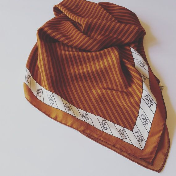 #vintage #silk #stripes #fashion #sharrapagano #brown #foulard