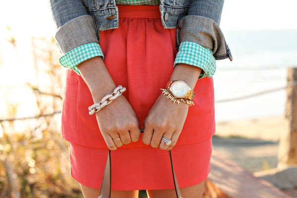 Gold spike and crystal cluster bracelet.. $26.50, via Etsy.