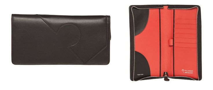 Tillander by Aki Choklat, JERRY passilompakko, Passport wallet, leather, black, coral pink, Made in Italy