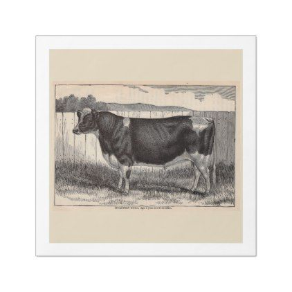19th century print Holstein bull Paper Dinner Napkin - country wedding gifts marriage love couples diy customize
