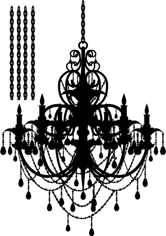 Large 21 x 30 Chandelier French Paris Wall Art Vinyl Letters Decals with Extra Chain