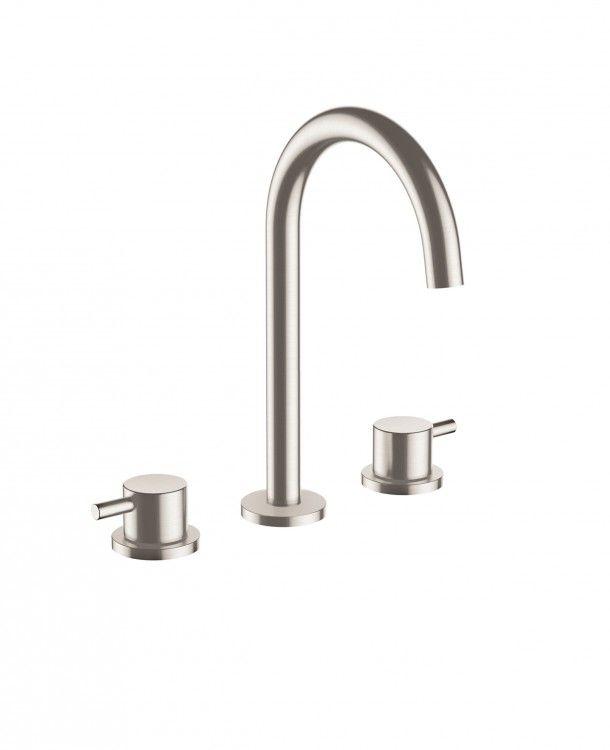 Amox 3 Hole Basin Mixer Brushed Stainless Steel Stainless Steel Bathroom Steel Bathroom Basin