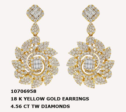 10706958 18 K YELLOW GOLD EARRINGS 4.56 CT TW DIAMONDS