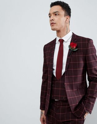 4caa69b6dc48 DESIGN Wedding Super Skinny Suit Jacket In Wine And Orange Grid Check in  2019 | My Fashion | Skinny suits, Mens suits, Suit jacket