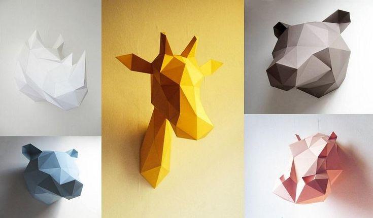 Cabezas de animales de cart n para habitaciones infantiles - Patrones de cabezas de animales de tela ...