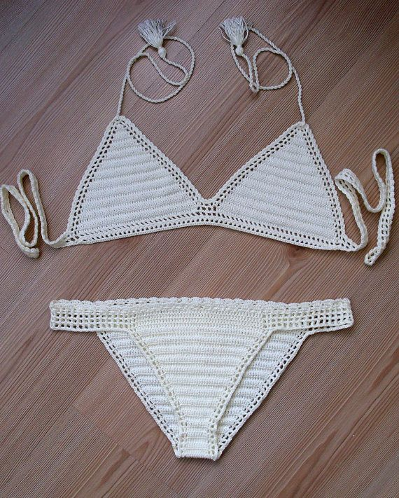 ❤~Crochet இڿڰۣ-ڰۣ— ❀ ✿  Crochet cream bikini, 2016 summer trends, women brazillian bikini swimwear  beach wear / FORMALHOUSE