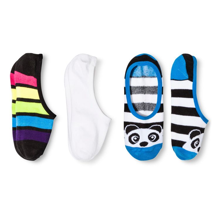 Women's 3pk Liner Socks Panda - Xhilaration White One Size