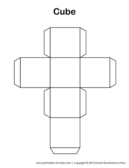 On this page is a printable cube template for kids print for Geometry net templates