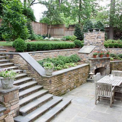 25 best ideas about backyard retaining walls on pinterest for Small sloping garden designs