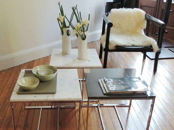Poltrona Fell y mesas John: metal, mármol, madera y cuero en un mismo lugar. #solsken www.solsken.com.ar