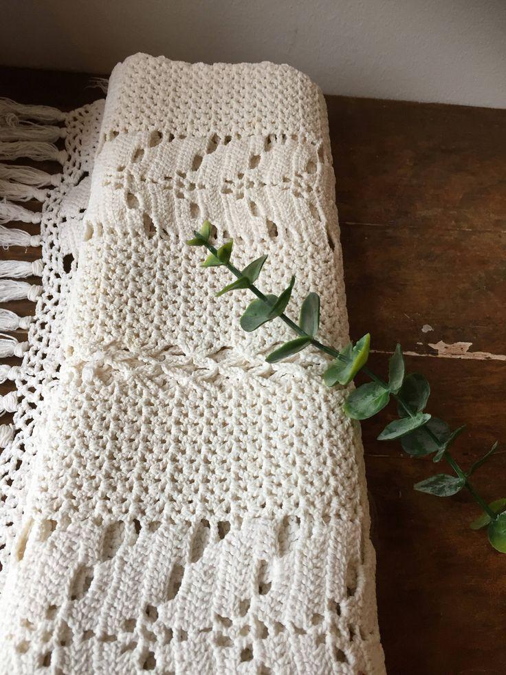 Vintage/runner /tablerunner/boho/crochet/macrame/midcentury modern/style/natural fibers/hygge/fringe