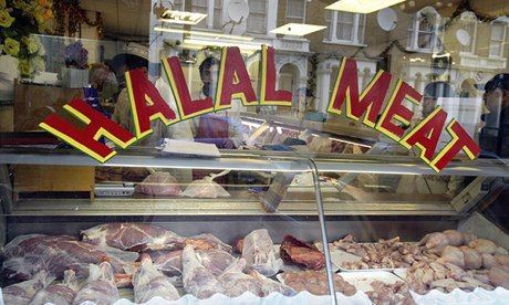 A halal butcher's in London