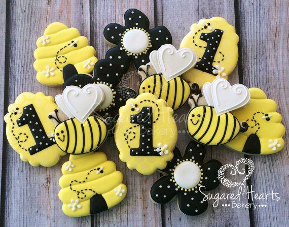Bumble Bee Honeycomb Flower Birthday Party Cookies - 1 Dozen