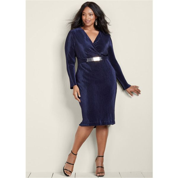 Venus Women's Plus Size Pleated Belted Dress ($36) ❤ liked on Polyvore featuring plus size women's fashion, plus size clothing, plus size dresses, blue, women plus size dresses, v-neck dresses, v neckline dress, blue dress and v neck dress