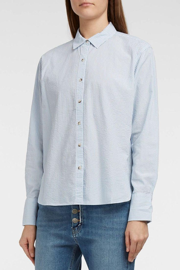 M.I.H JEANS Mini Oversize Striped Cotton-Seersucker Shirt. #m.i.hjeans #cloth #