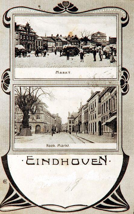 ollagekaart met op de ene afbeelding de zuid-oostzijde van de Markt en op de andere afbeelding de noord-westzijde van de Markt