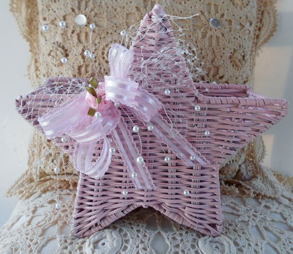Pink Star Basket  Shabby Victorian Basket Decor by MagnoliaManor