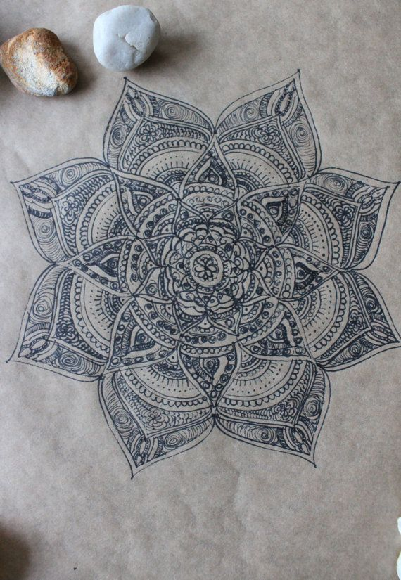 Original Hand Drawn Mandala: Ink on Recycled by yourhomemadezen