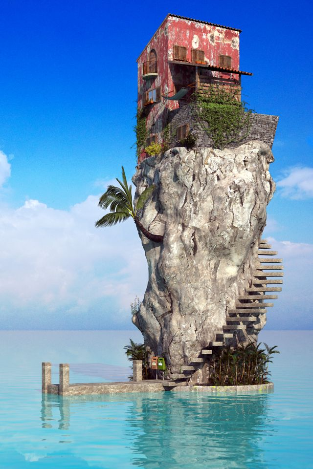 House on a cliff in the sea - created in Autodesk 3ds Max 2011, by Jonathan Besler