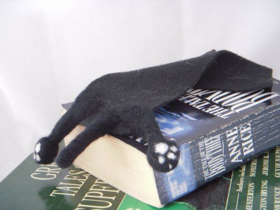 Introducing SPLAT the Top Selling Needle Felted Cat Bookmark from BenMcfuzzylugs. This Splat is Black Cat made from Felt and Fleece and Firmly