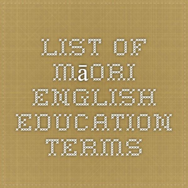 List of Māori-English Education Terms