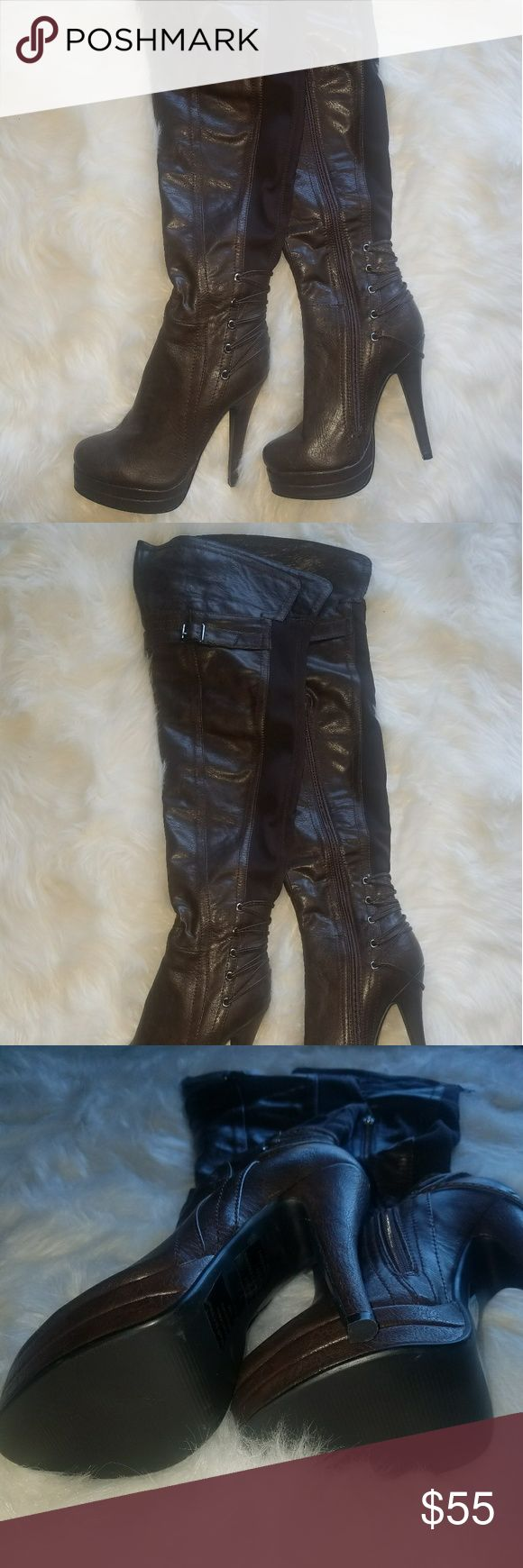 Brown thigh high boots Brown thigh high boots size 7 Shoes Over the Knee Boots