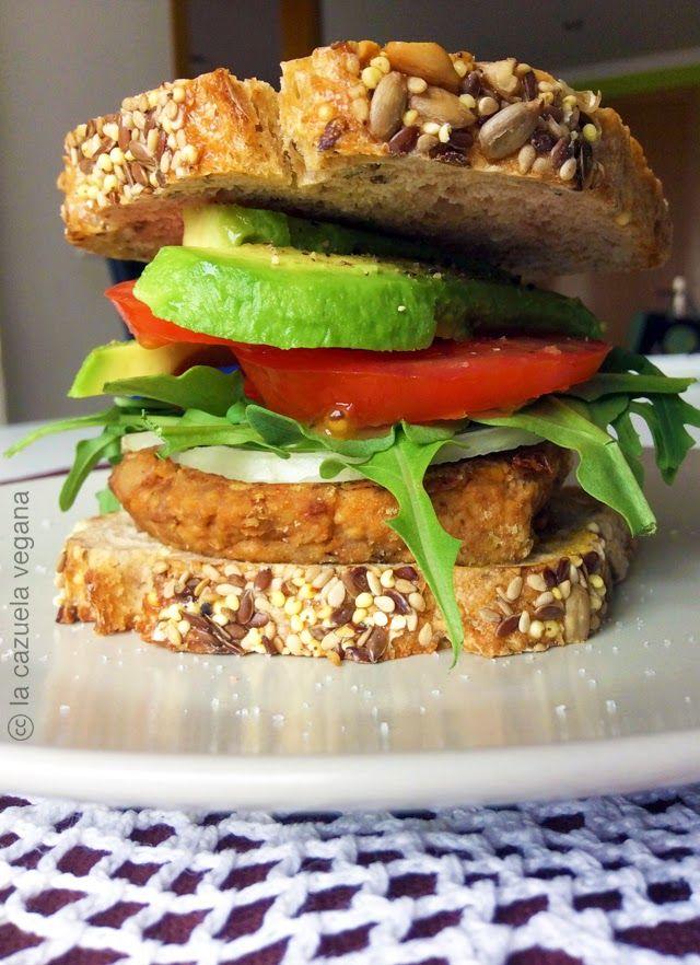 Hamburguesa vegana de lentejas, zanahoria y nueces
