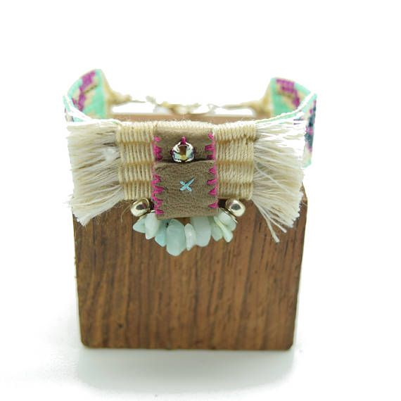 Tribal cuff - ethnic chic - pearls woven - leather talisman - cotton weaving - Amazonite - turquoise