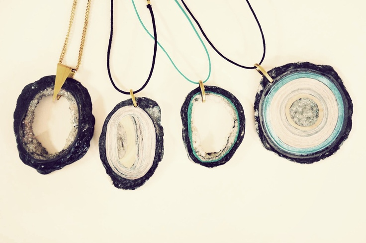 """Paper Scissors Stone"" by Quazi Design. A collection of individual jewellery pieces inspired by raw stones and geode rocks. Handmade in Swaziland from waste magazine paper."