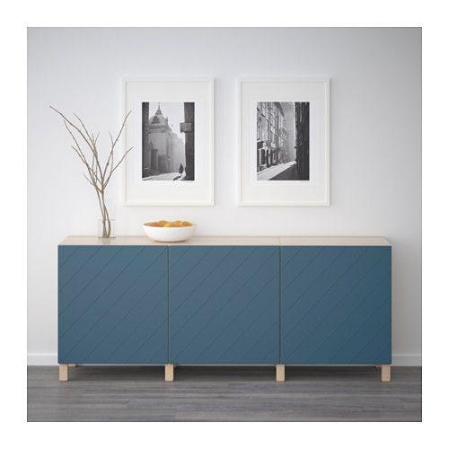 BESTÅ Oppbevaring med dører - hvitbeiset eikemønster/Hallstavik mørk blå - IKEA