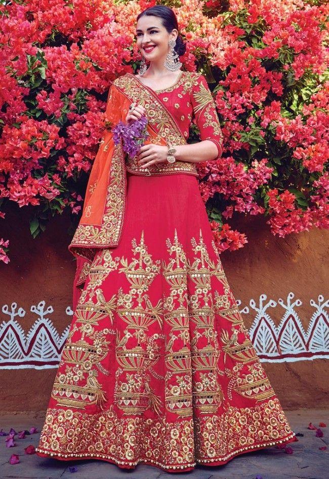 WeddingFlares Red Net Embroidered Lehenga Saree