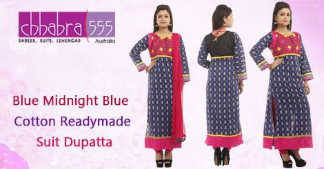 Buy Blue Midnight Blue Cotton Readymade Suit Dupatta in @ $59.95 AUD fom collections of over 4000 unique products - design, colour and fabric scheme of Chhabra555 in Australia.