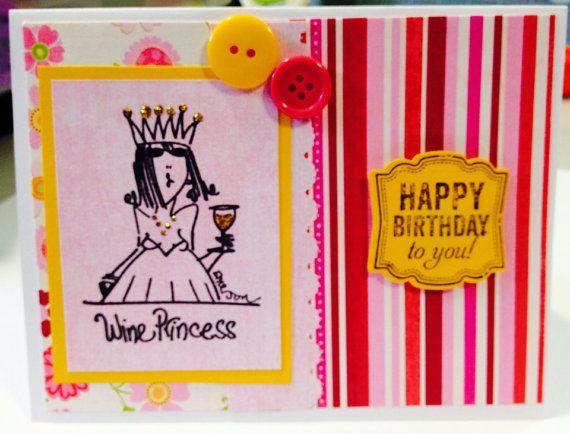 Wine Princess birthday card on Etsy, $4.57 CAD