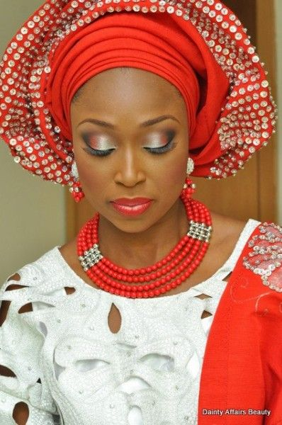 Faderin in Red & Silver Sequin Gele - Makeup by Dainty Affairs Beauty