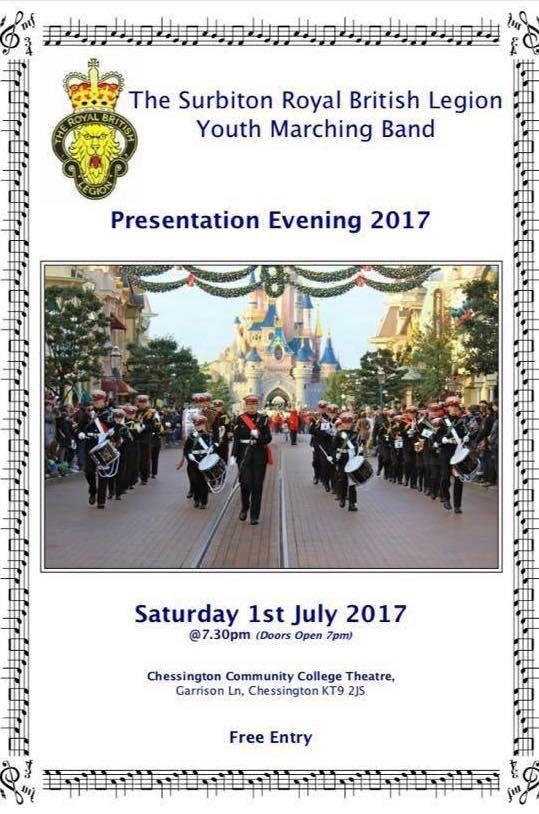 Surbiton RBL Youth Marching Band Presentation Evening at #Chessington College @chessington_col