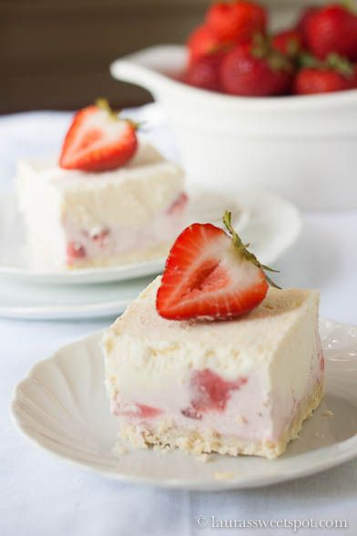 Frozen Strawberry Dessert- like a delicious ice cream cake!