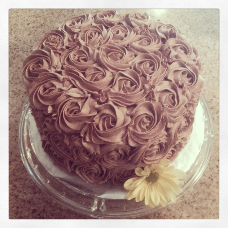 Rose cake for my son's baby dedication.  Made with glutenfreegoddess chocolate layer cake recipe.
