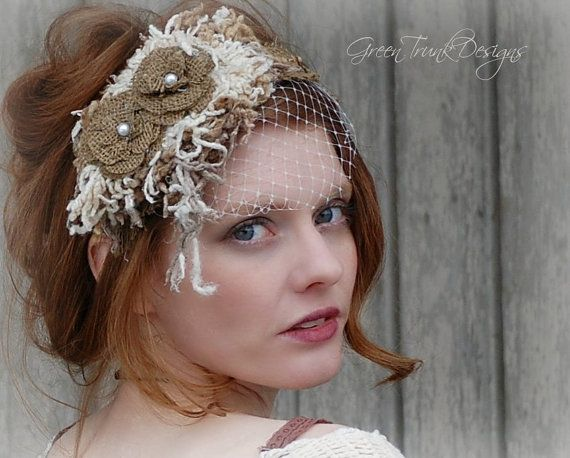Rustic Veil / Bohemian Wedding / Headpiece / by GreenTrunkDesigns, $110.00