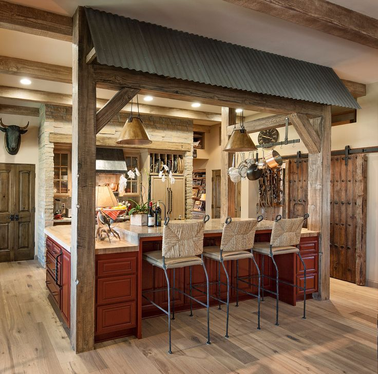Rustic Farmhouse Kitchen Large Wood Beams Wicker Bar