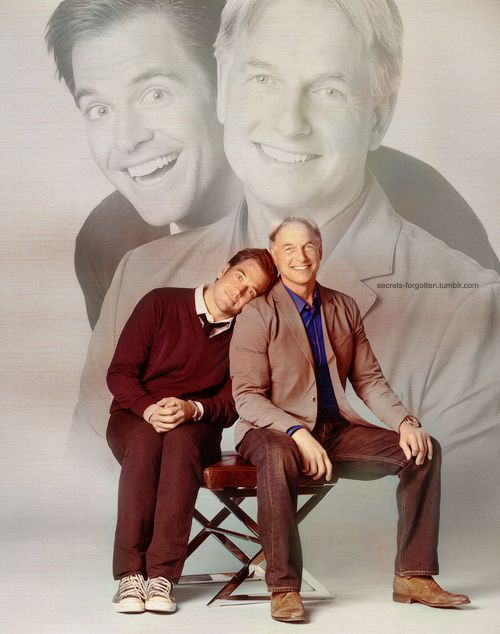 ...Michael Weatherly and Mark Harmon. Reminds me of those awkward family photos lol!