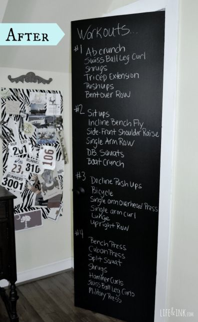 Chalkboard paint in workout room!!! Yes! Great idea to keep workouts visual.