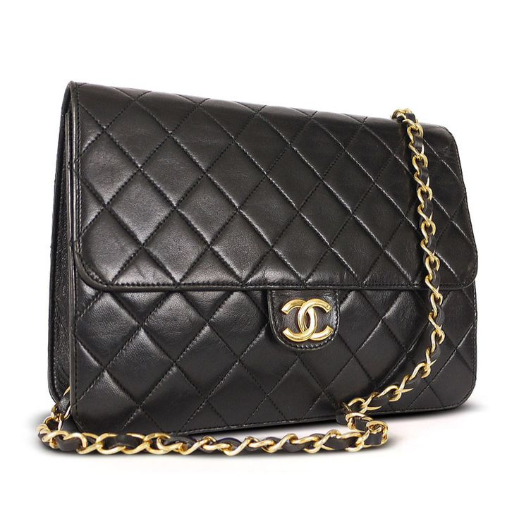 Chanel Black Lamb Skin 3way Classic Vintage