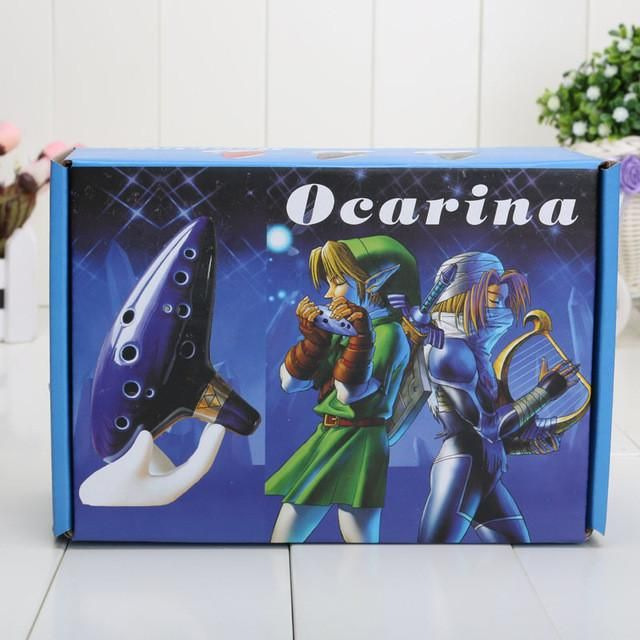 Blue 12 Holes Ocarina Kiln-fired Ceramic Alto C Legend of Zelda Flute Ocarina of Time Woodwind Instruments figure toys