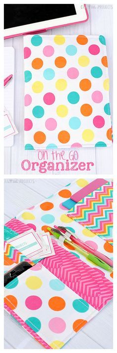 This On the Go Organizer holds notebooks, pens, phone, to do lists, cards and anything else you need!