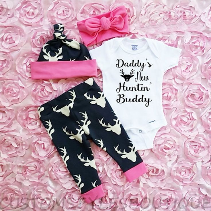 3 pcs Spring Autumn 0-24 Month New Born Baby Set Baby Girl Boy Clothing Deer Pattern Christams Outfit H3