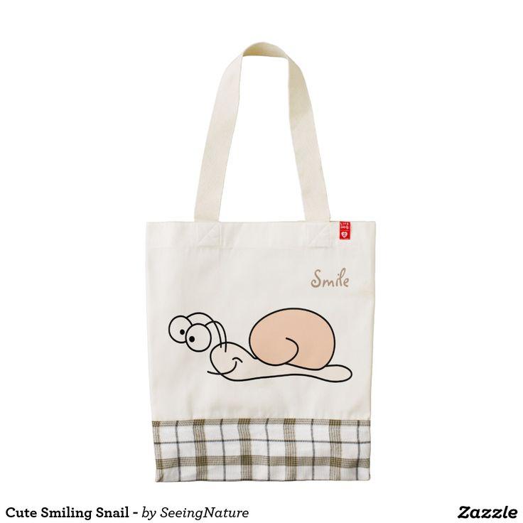 Cute Smiling Snail - Zazzle HEART Tote Bag